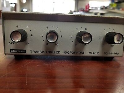 Claricon 44-460, Transistorized Stereo Mike Mixer, 4 Channel, Portable, Vintage