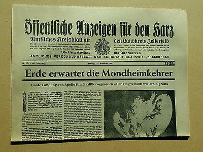 Öffentliche anzeigen für den Harz     Raumfahrt. 27.  12.1968.  Nr.63