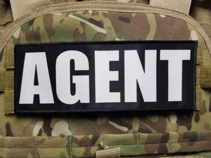 """3x8"""" AGENT Black White Hook Back Tactical Raid Patch for Plate Carrier"""