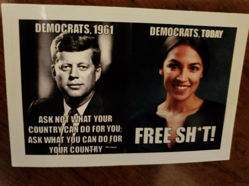 A.O.C. AOC JFK J.F.K funny Political sticker Democratic Socialism