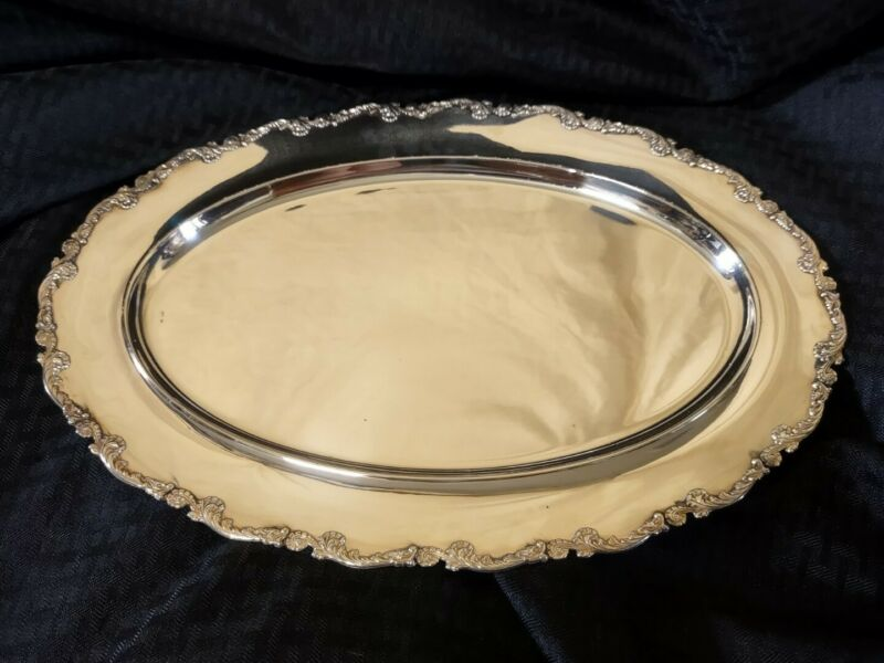 800 Silver Antique Repousse Oval Platter Tray (548 grams)