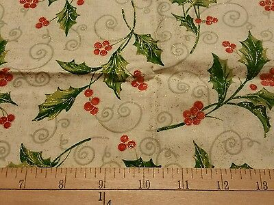 """2 yds  & 7 """"WINTER FABRIC HOLLY LEAVES OUTLINED IN GOLD METALIC XMAS CREME HTF"""