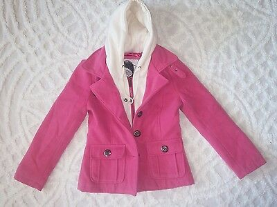 Dark pink Girls Pea Coat Size Sm with Hood Sunday or Dressy or Everyday wear.