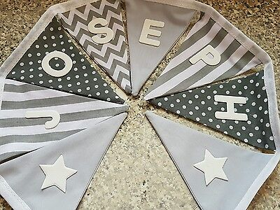 PERSONALISED BUNTING- GREY MIX CHEVRONS, SPOTS,STRIPE ETC..ANY NAME- £1 PER FLAG