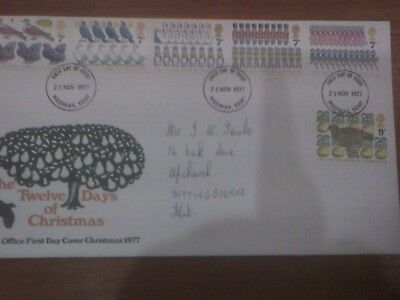 12 Days of Christmas P.O. First Day Cover 23 November 1977