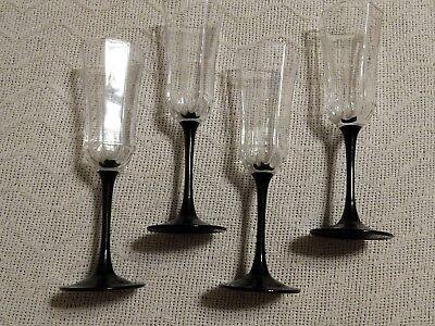 (Set of 4 Black Stem Crystal Champagne Flutes Wine Goblets Octagon Octime France)