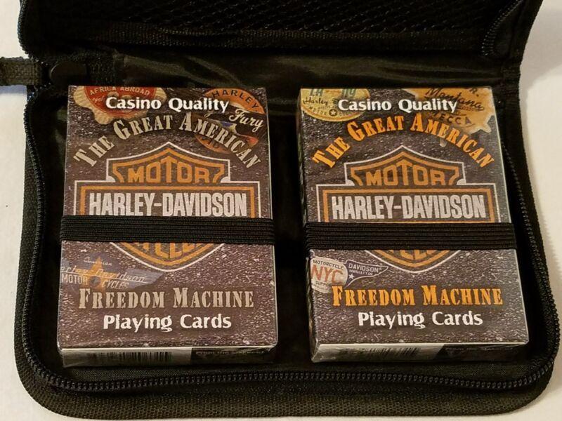 HARLEY-DAVIDSON Motorcycle (2) Decks of Playing Cards in case