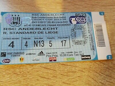 Ticket : Anderlecht Standard coupe Belgique 2017