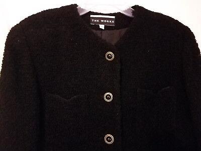 Winter Clearance! Vintage Saks Fifth Ave.The WORKS Loop Wool Black Jacket, Sz 8
