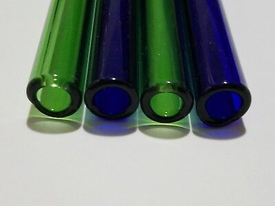 6 Blue Green Pyrex Glass Blowing Tubes 12mm Od 6 Piece Tubing 2mm Thick Wall