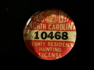 Vintage Style 1936 North Carolina Hunting License Glass Paperweight by Artist