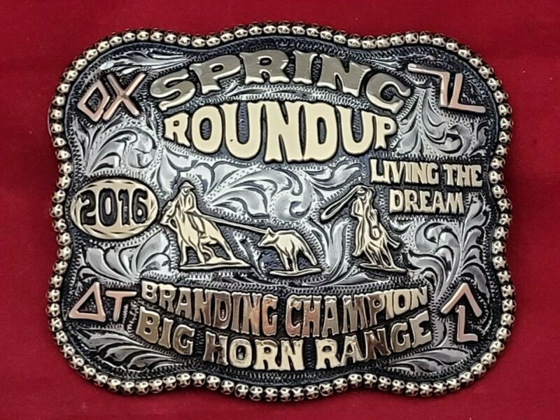 CHAMPION TEAM ROPING SPRING ROUNDUP BRANDING RODEO TROPHY BUCKLE ☆2016☆-816