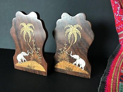 Old Asian Elephant Inlaid Folding Book Ends …beautiful display / accent piece