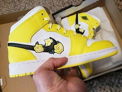 Nike Air Jordan 1 Retro Mid Dynamic Yellow Floral Flower Size  AV5174-700