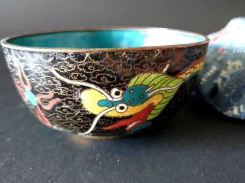 Old Chinese Inlaid Cloisonné Bowl …beautiful yellow dragon pattern