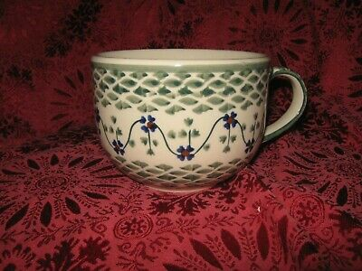 BOLESLAWIEC POLISH POTTERY RHINE LARGE SOUP BEVERAGE MUGS - 2 - NEW ()
