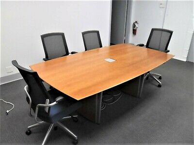 Conference Table And 4 Chairs All In Good Condition Ajustable Steel Frame