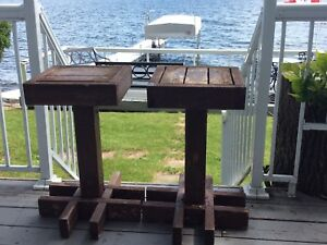 2 wooden handmade plant stands