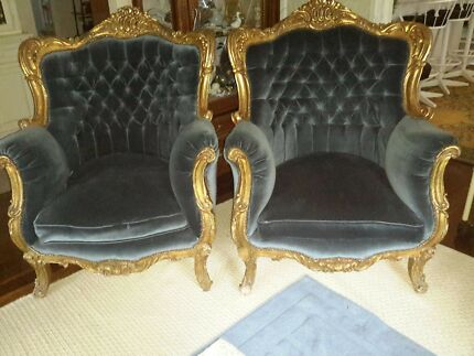 French Furniture vintage old world pair of chairs imported from Europe