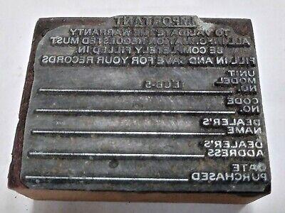 Letterpress Printing Printer Block Wood Copper Metal Type Manufacturing Receipt