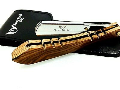 FW® Barber Salon Straight Cut Throat Wooden Handle Stainless Steel Razor & Pouch