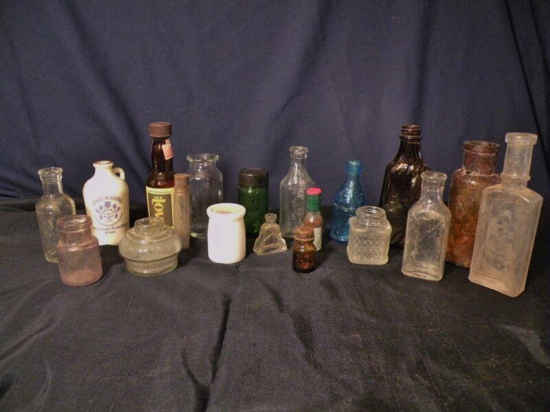 Lot B 22+ Small Bottles Miniature Medicine Perfume Milk Cinnamon