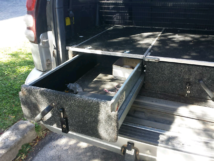 Outback roller drawers, cargo barrier & water tank