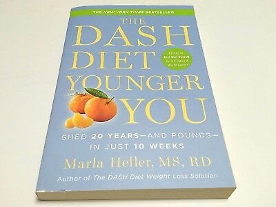 The Dash Diet Book Younger You Shed 20 Pound/Years Marla Heller Health Best -