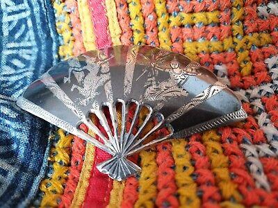 Antique 1920's Siam Sterling Silver & Black Enameled Fan Brooch …beautiful