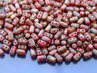 10g Czech Rulla Twin Beads Red Picasso Silver