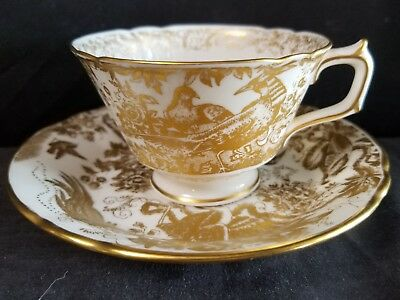 Royal Crown Derby GOLD AVES Cup and Saucer Mint unused Aves-cup