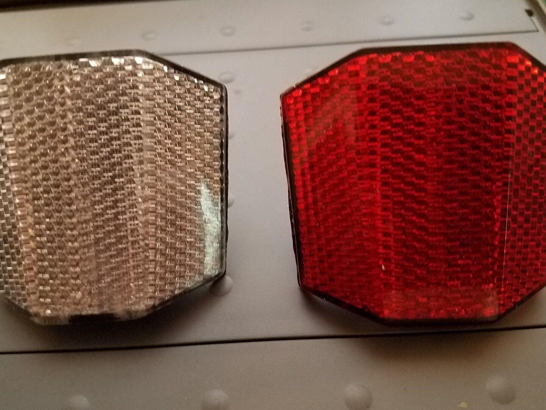 "2 Bike Reflectors 1 White Front & 1 Red Rear w/screws 2 1/4"""