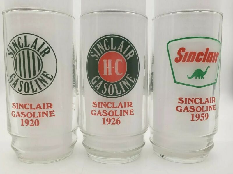 Vintage Sinclair Gasoline 1920 1926 1959 Set of 3 Glasses Through The Years
