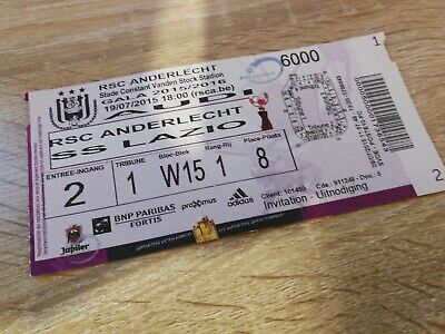 Ticket  Anderlecht Lazio Roma Amical Belgique 2015