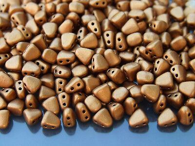 10g Czech Nib - Bit Twin Hole Beads 6x5mm Matte Metallic Antique Gold