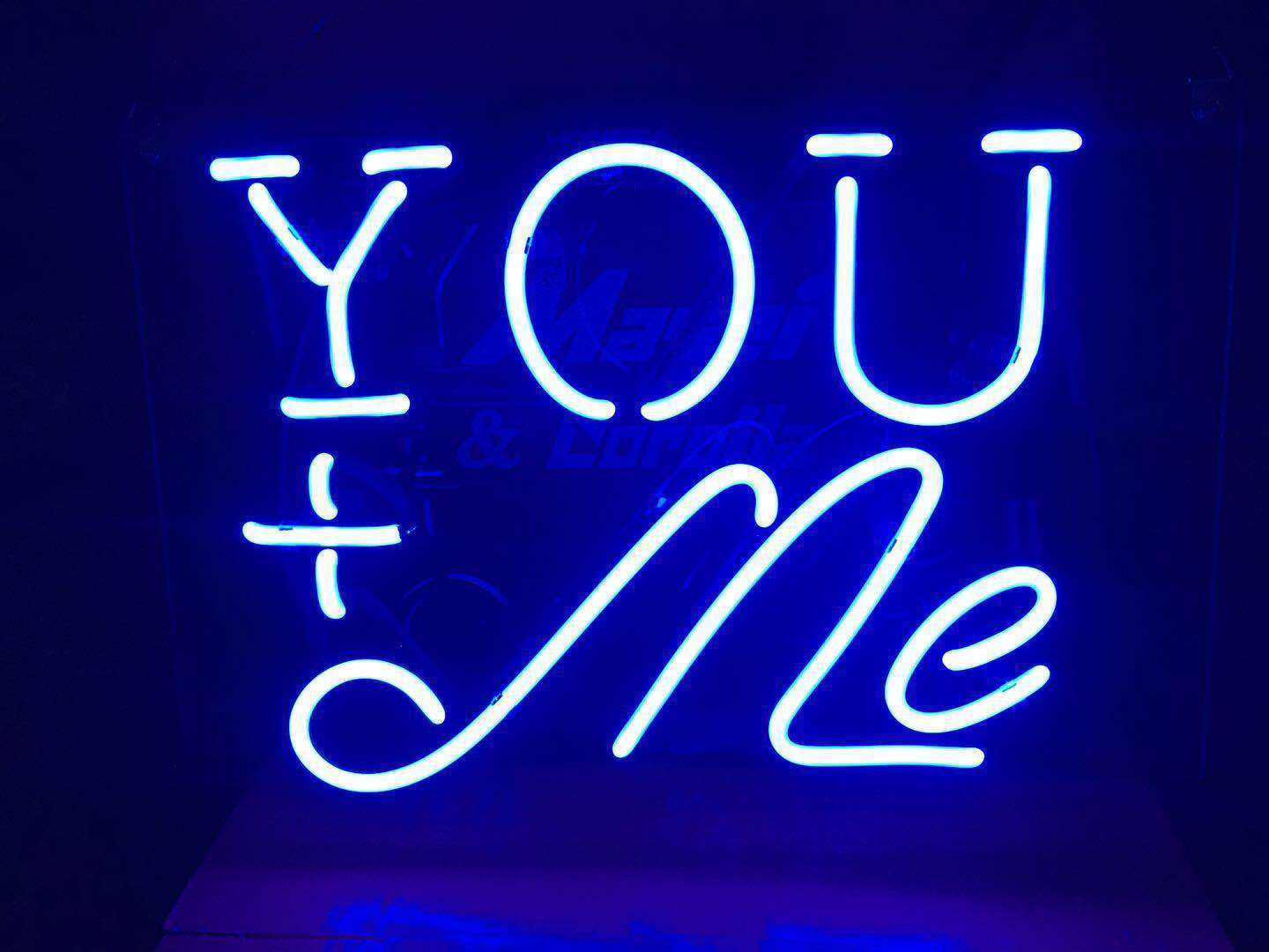 You+Me Neon Sign Light Beer Bar Pub Wall Poster Weeding Part