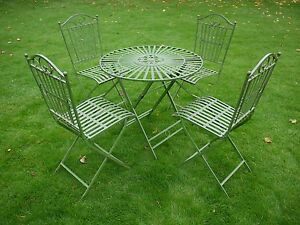 wrought iron garden furniture antique. antique green metal vintage style 5 piece bistro patio garden furniture set wrought iron