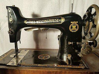 Antique/Vintage Free Westinghouse Cast Iron Treadle Sewing Machine w/ Case