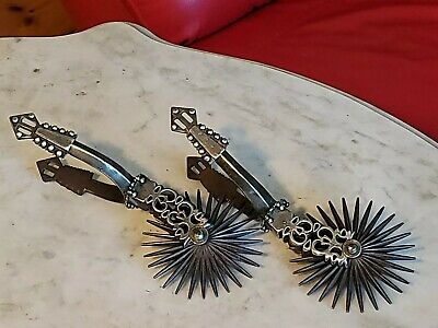 """Vintage Antique Chilean Spurs Iron Silver w/ 3.75"""" Rowels"""