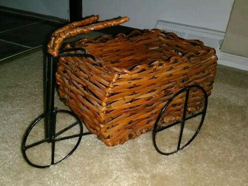 DECORATIVE WICKER WAGON 3 FIXED WHEELS DESIGN W/ HANDLEBARS NEW W/OUT TAGS  - $44.99