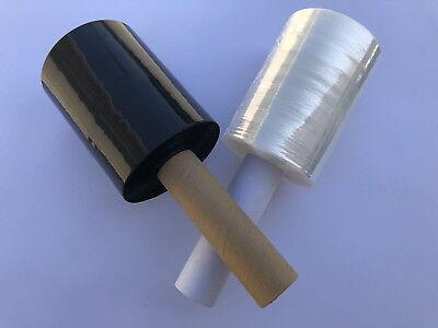 Shrink Wrap Stretch Film Clear Black 2 Rolls 5x1000 80 Gauge With Handle