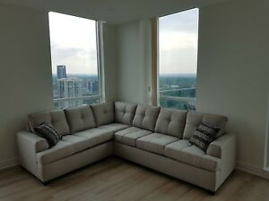 Beige sectional sofa- great condition!