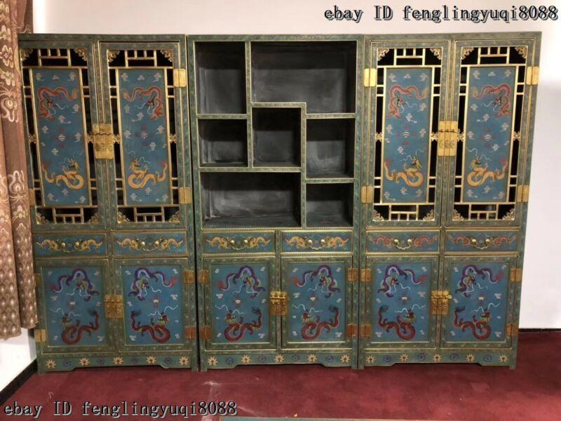 Palace Copper Cloisonne Enamel Dragon Bookcase bookshelf Du Baoge Furniture