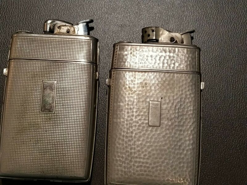 2 Evans Cigarette Cases  One Lighter With Unusual Windguard Missing Fluid Cap