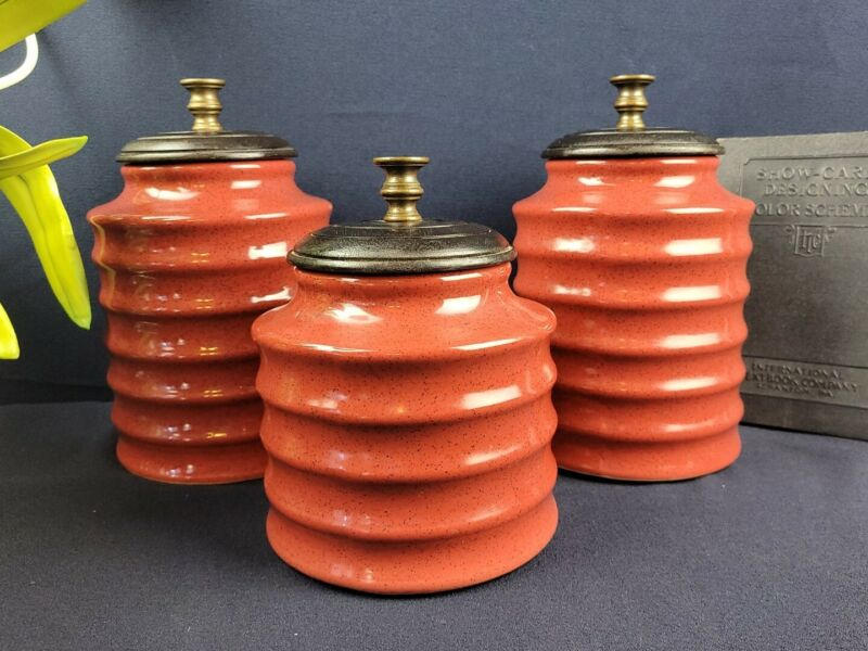 Pier 1 Imports Kitchen Canister Set of 3 - Red, Ribbed
