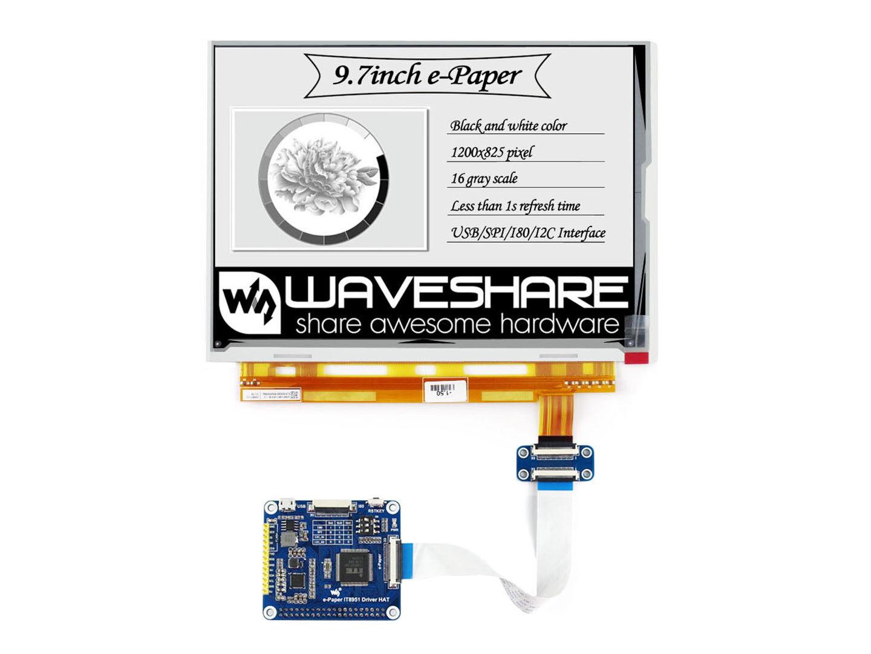 1200x825 9.7inch E-Ink Display e-Paper HAT USB/SPI/I80/I2C f