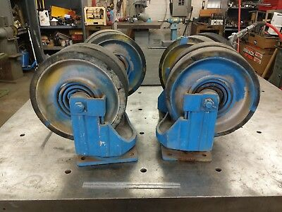 12 Dual Swivel Caster Wheels Heavy Duty Large Suspension Spring Aluminum Huge
