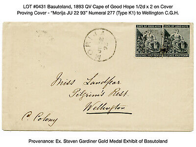 0431: Basutoland, 1893 QV Cape of Good Hope 1/2d x 2 on Cover - Proving Cover
