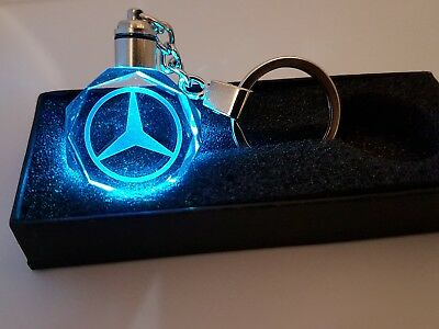 2017 Mercedes LED CRYSTAL Keyring 3D KEY RING CHAIN  CLK AMG CLASS XMAS GIFT