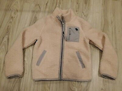 Abercrombie Girls Kids Size 7/8 Pink Longsleeve Fleece Zip Up Warm Light